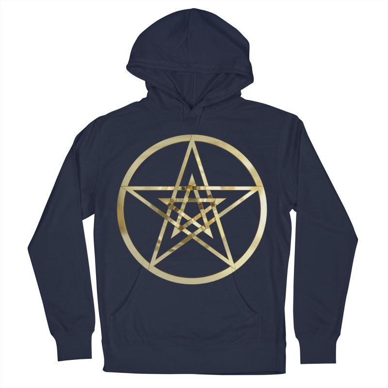 Double Pentacles Gold Men's French Terry Pullover Hoody by diamondheart's Artist Shop