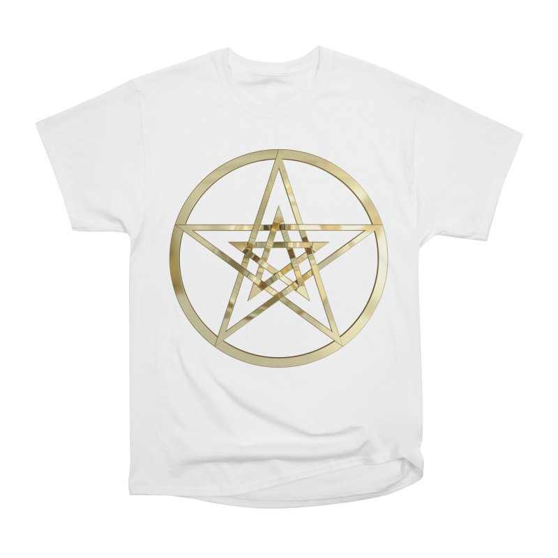 Double Pentacles Gold Men's Heavyweight T-Shirt by diamondheart's Artist Shop
