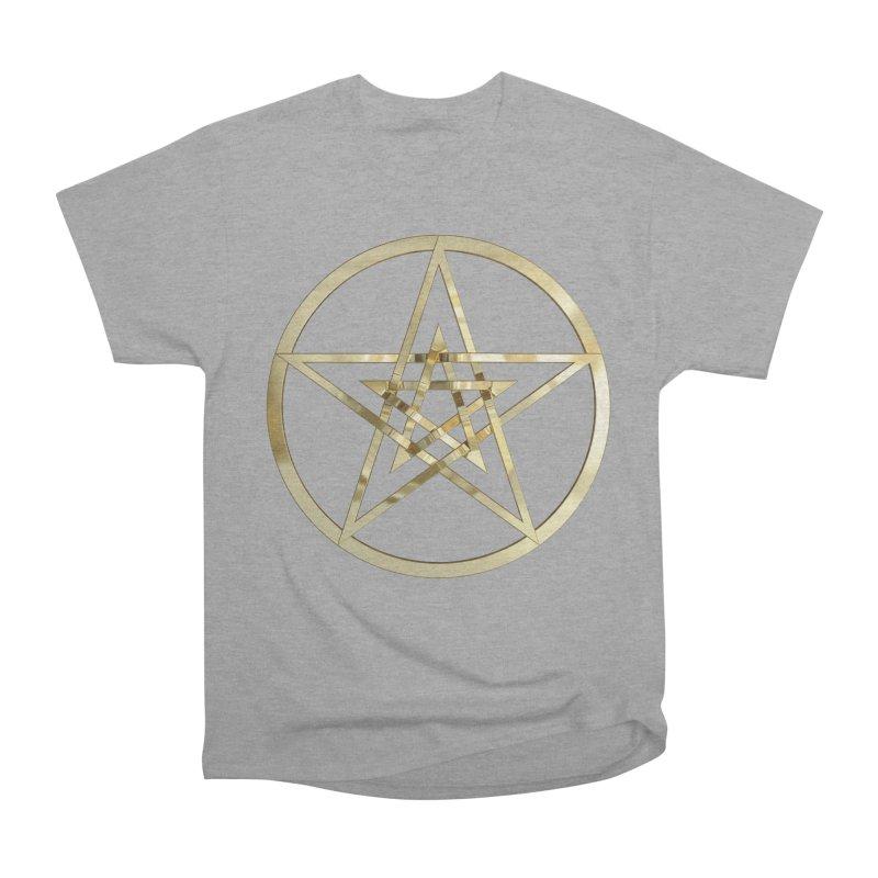 Double Pentacles Gold Women's Heavyweight Unisex T-Shirt by diamondheart's Artist Shop