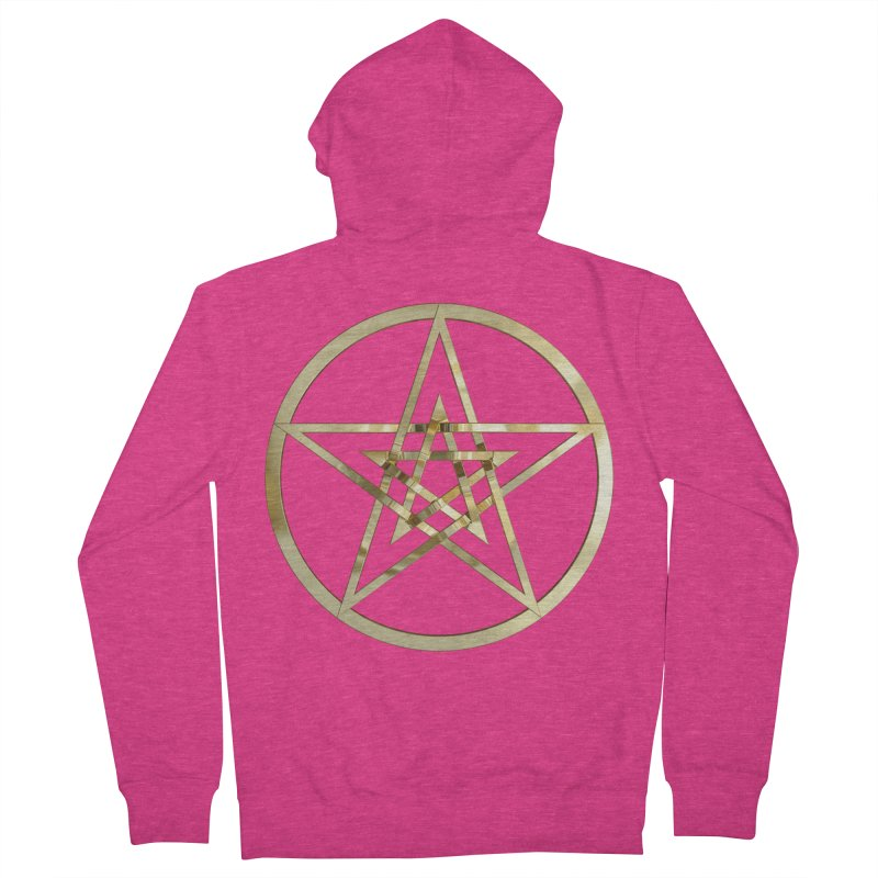 Double Pentacles Gold Women's French Terry Zip-Up Hoody by diamondheart's Artist Shop