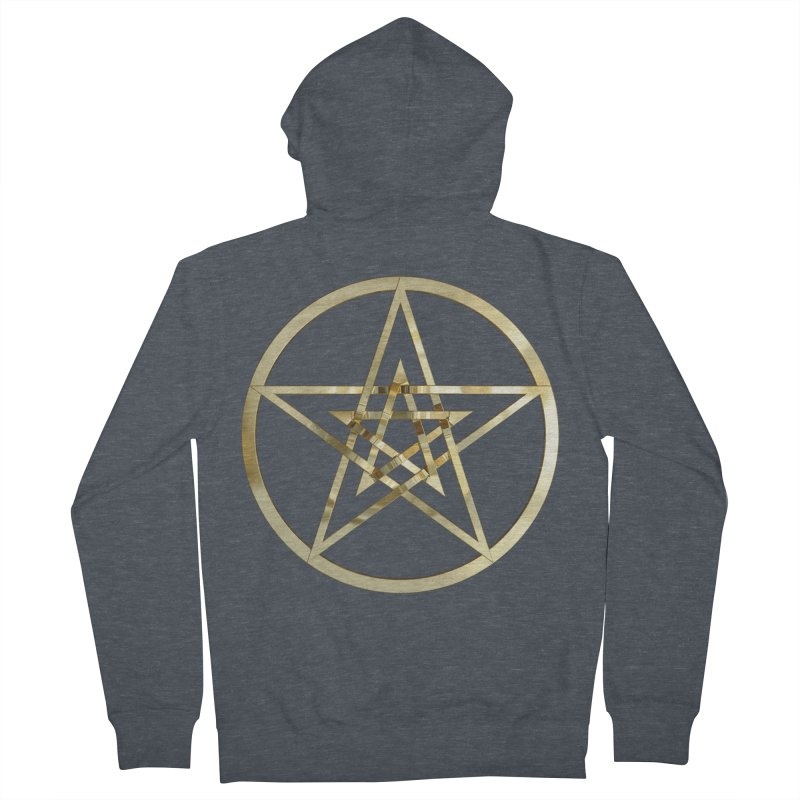 Double Pentacles Gold Men's French Terry Zip-Up Hoody by diamondheart's Artist Shop