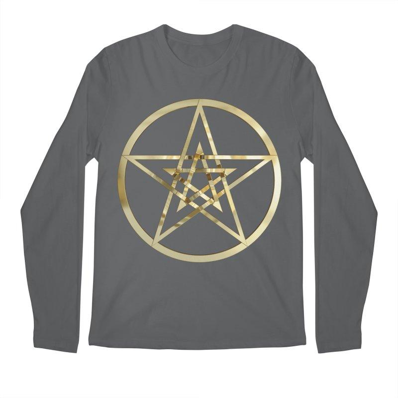 Double Pentacles Gold Men's Longsleeve T-Shirt by diamondheart's Artist Shop