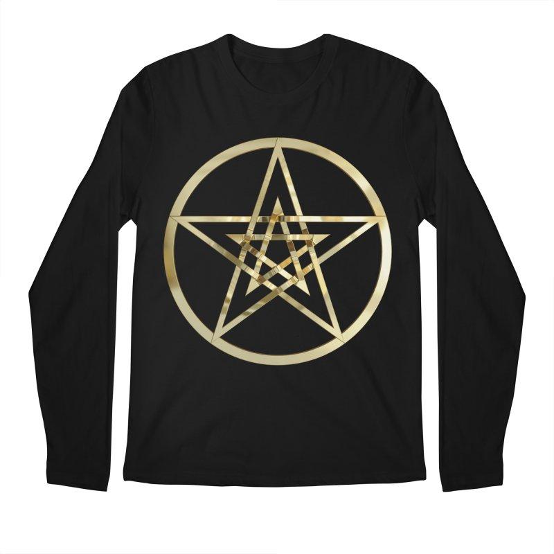 Double Pentacles Gold Men's Regular Longsleeve T-Shirt by diamondheart's Artist Shop