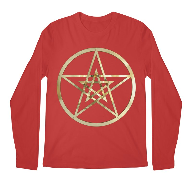Double Pentacles Gold Men's Regular Longsleeve T-Shirt by diamondheart's Artist Shop