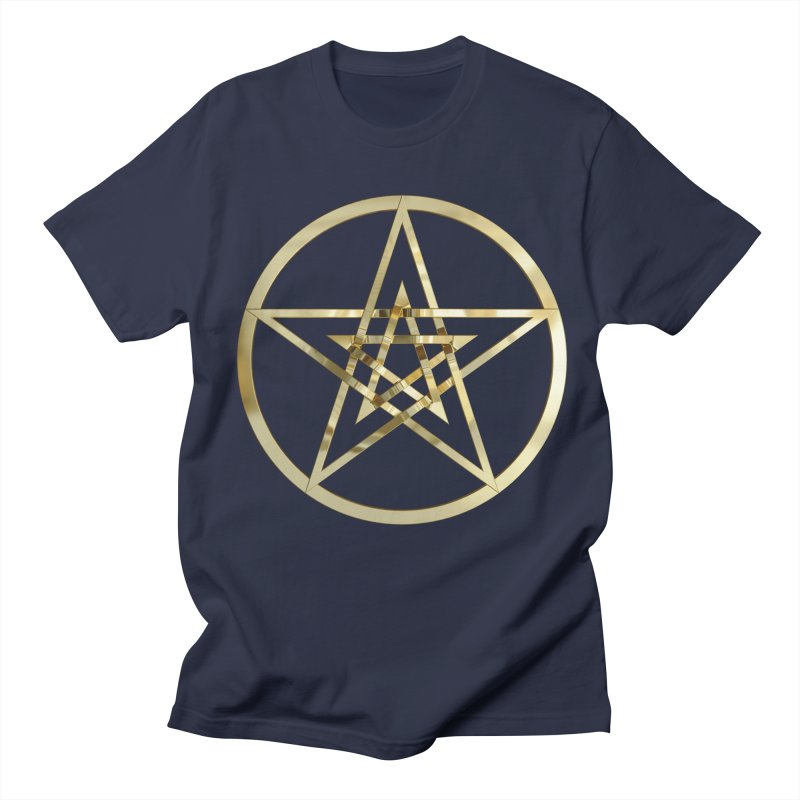 Double Pentacles Gold Men's Regular T-Shirt by diamondheart's Artist Shop