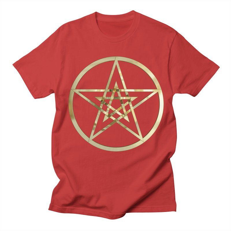 Double Pentacles Gold Men's Regular T-Shirt by diamondheart's Artist Shop
