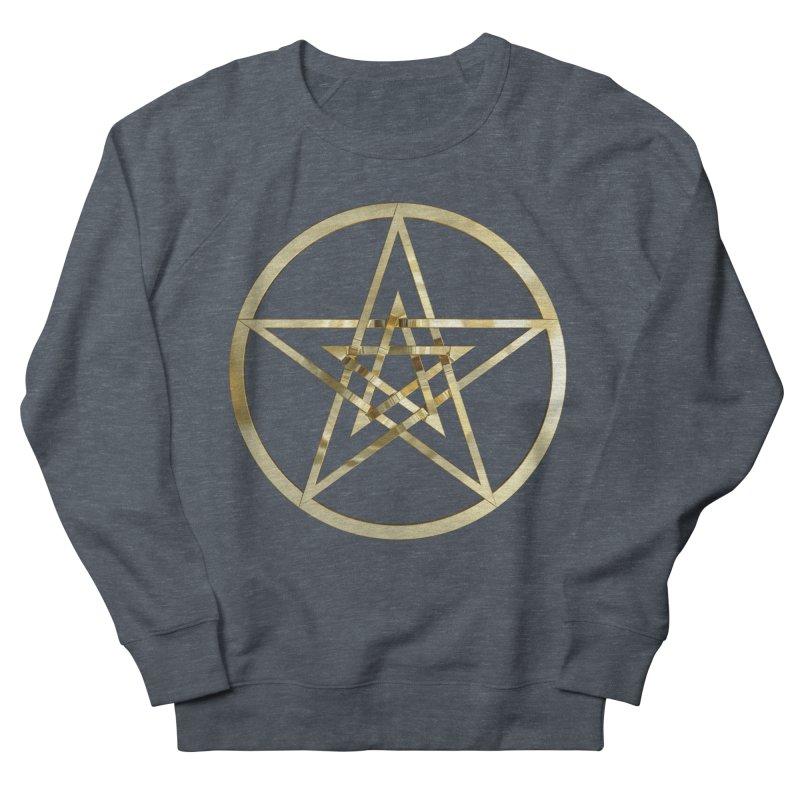 Double Pentacles Gold Men's French Terry Sweatshirt by diamondheart's Artist Shop