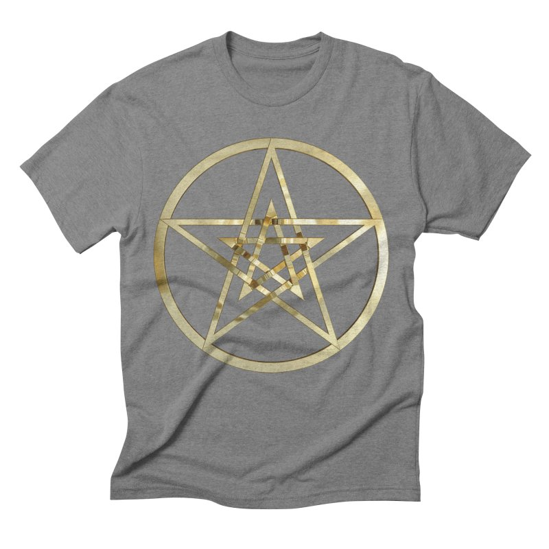 Double Pentacles Gold Men's Triblend T-Shirt by diamondheart's Artist Shop