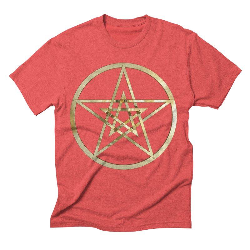 Double Pentacles Gold Men's Triblend T-Shirt by diamondheart's Artist Shop