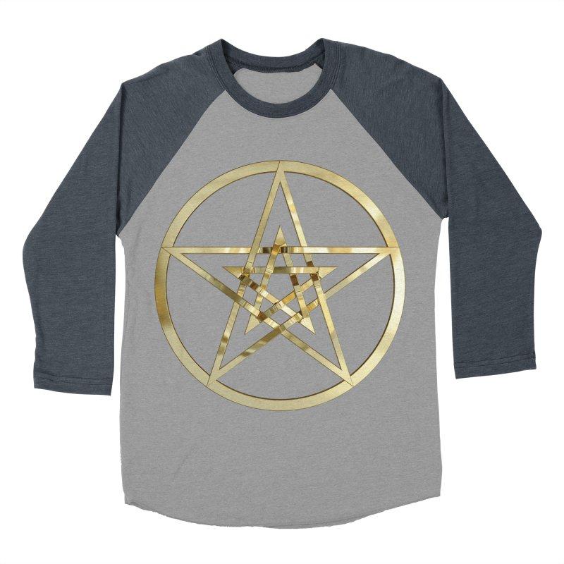 Double Pentacles Gold Men's Baseball Triblend Longsleeve T-Shirt by diamondheart's Artist Shop