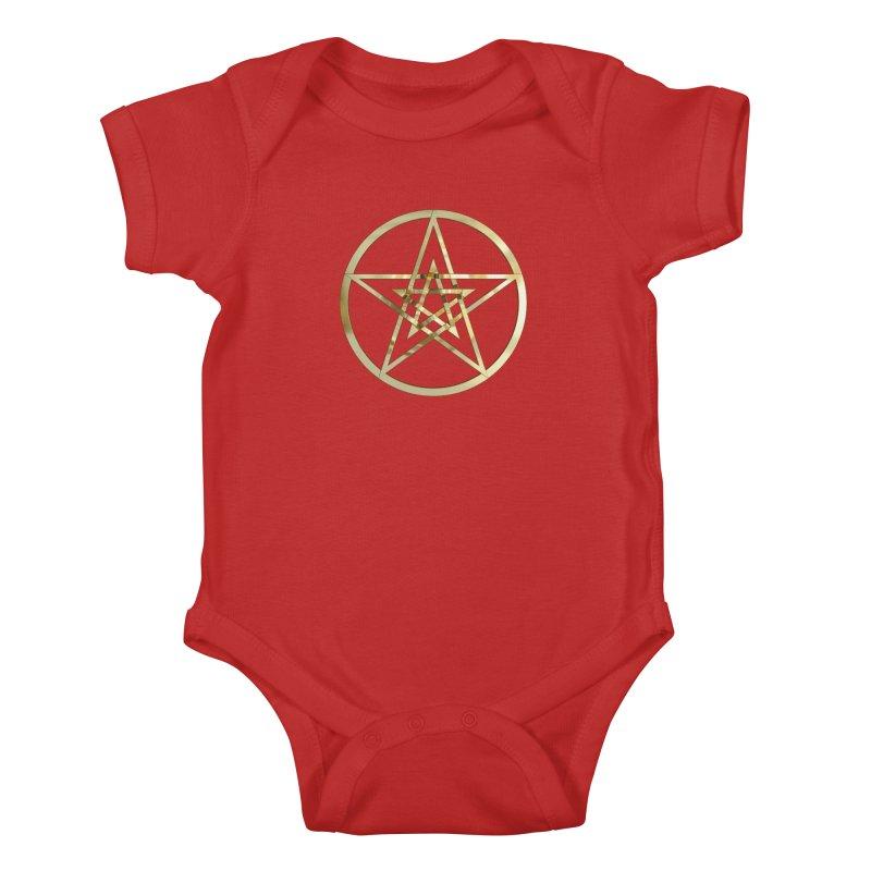 Double Pentacles Gold Kids Baby Bodysuit by diamondheart's Artist Shop