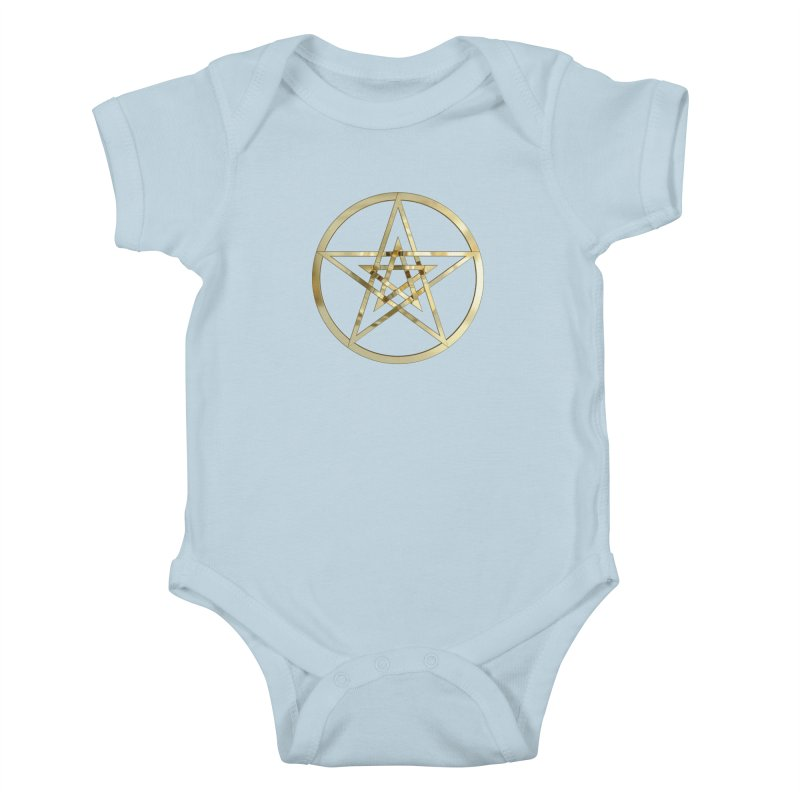 Double Pentacles Gold Kids Baby Bodysuit by diamondheart's Artist Shop
