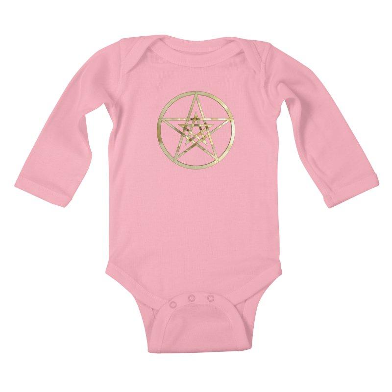 Double Pentacles Gold Kids Baby Longsleeve Bodysuit by diamondheart's Artist Shop