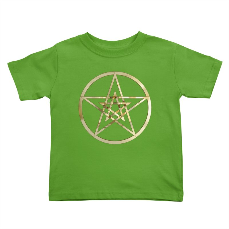 Double Pentacles Gold Kids Toddler T-Shirt by diamondheart's Artist Shop