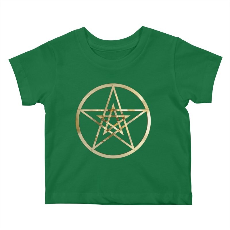 Double Pentacles Gold Kids Baby T-Shirt by diamondheart's Artist Shop