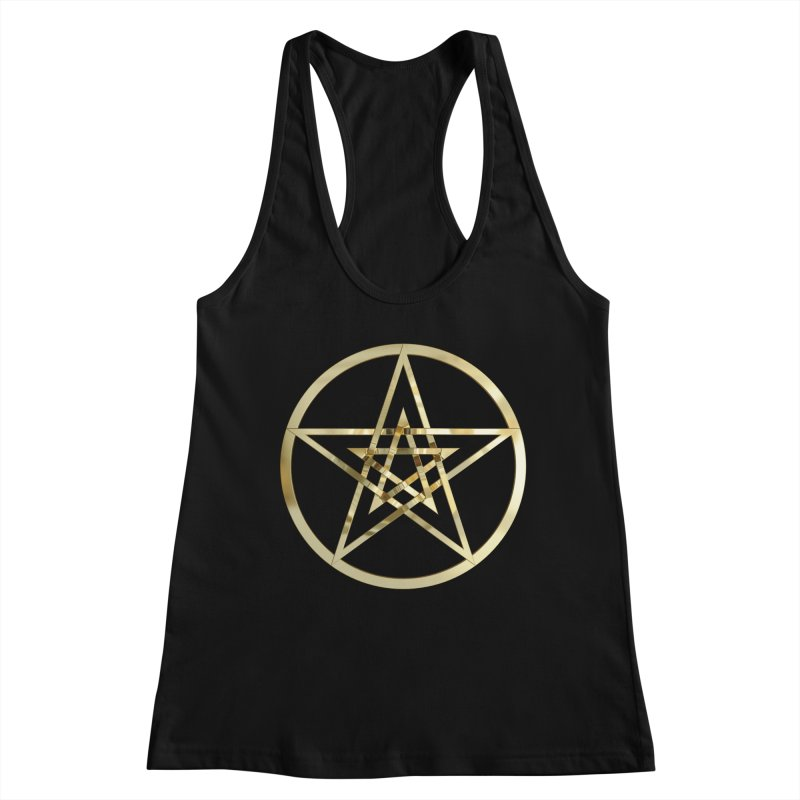 Double Pentacles Gold Women's Racerback Tank by diamondheart's Artist Shop