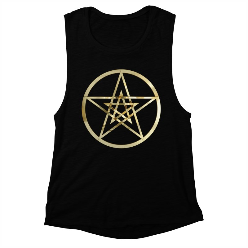 Double Pentacles Gold Women's Muscle Tank by diamondheart's Artist Shop