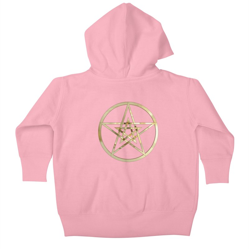 Double Pentacles Gold Kids Baby Zip-Up Hoody by diamondheart's Artist Shop