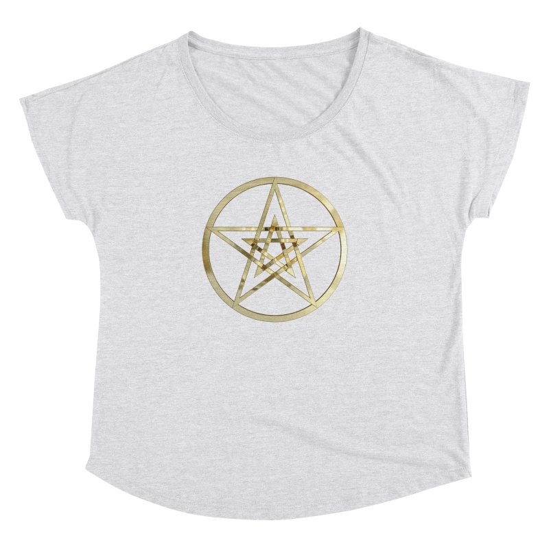 Double Pentacles Gold Women's Dolman Scoop Neck by diamondheart's Artist Shop