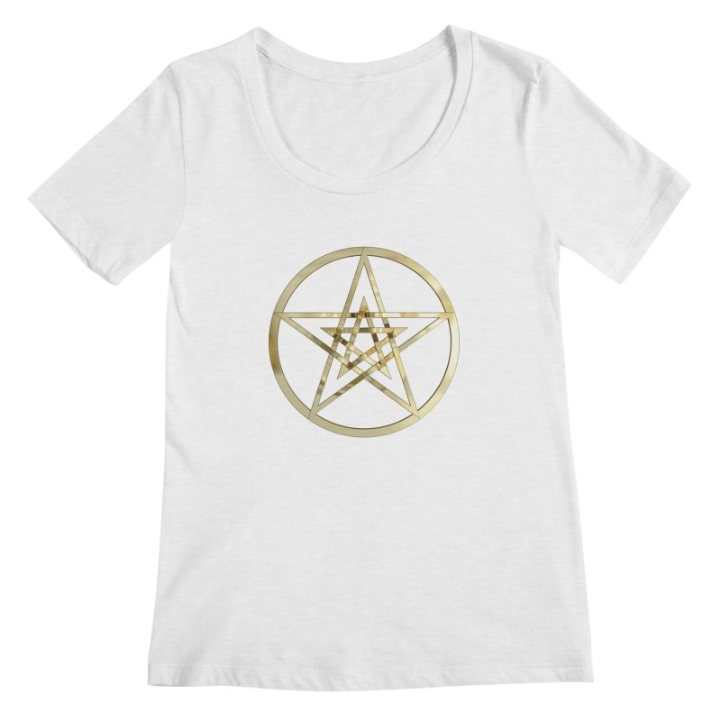 Double Pentacles Gold Women's Scoop Neck by diamondheart's Artist Shop