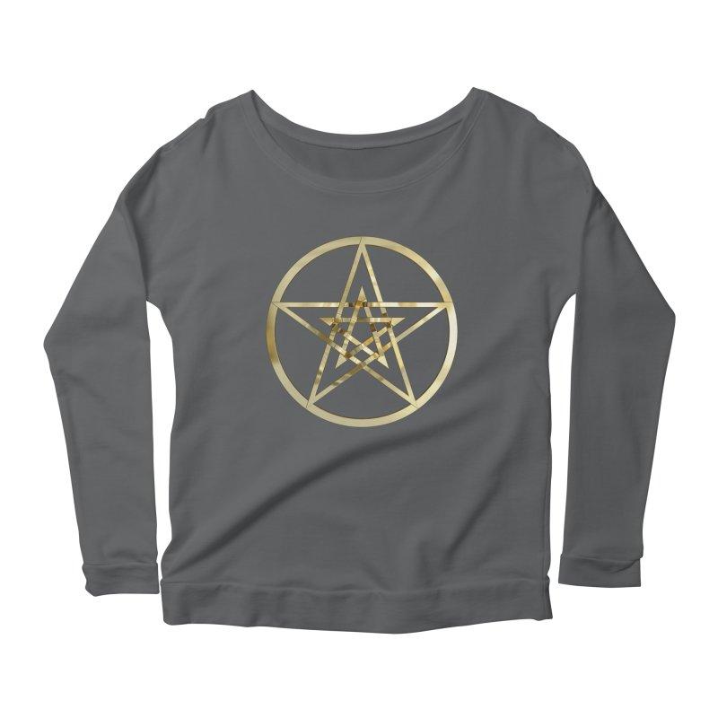 Double Pentacles Gold Women's Scoop Neck Longsleeve T-Shirt by diamondheart's Artist Shop