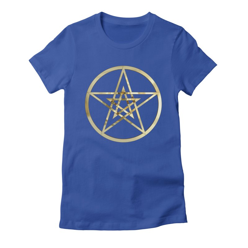 Double Pentacles Gold Women's Fitted T-Shirt by diamondheart's Artist Shop