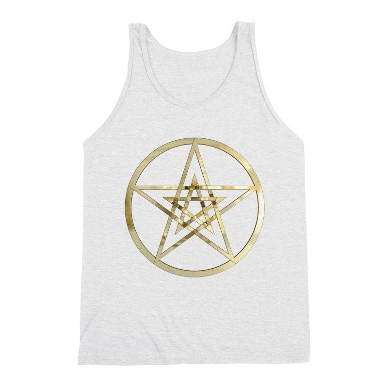 Double Pentacles Gold Men's Triblend Tank by diamondheart's Artist Shop