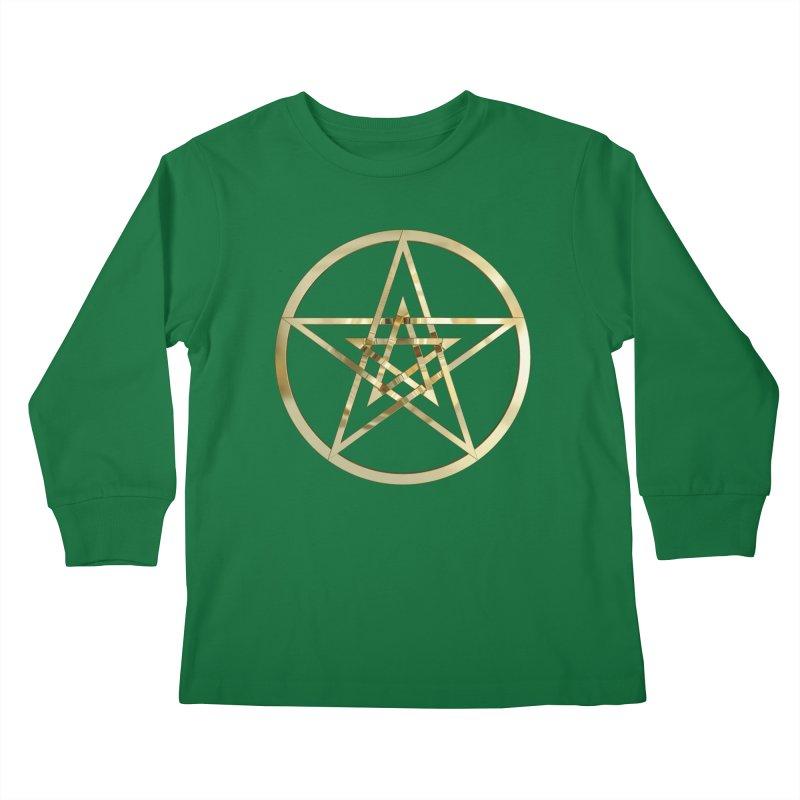 Double Pentacles Gold Kids Longsleeve T-Shirt by diamondheart's Artist Shop