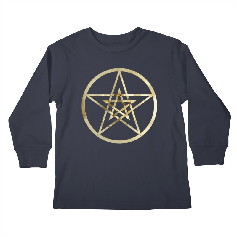 Double Pentacles Gold Kids Longsleeve T-Shirt by diamondheart's Artist Shop