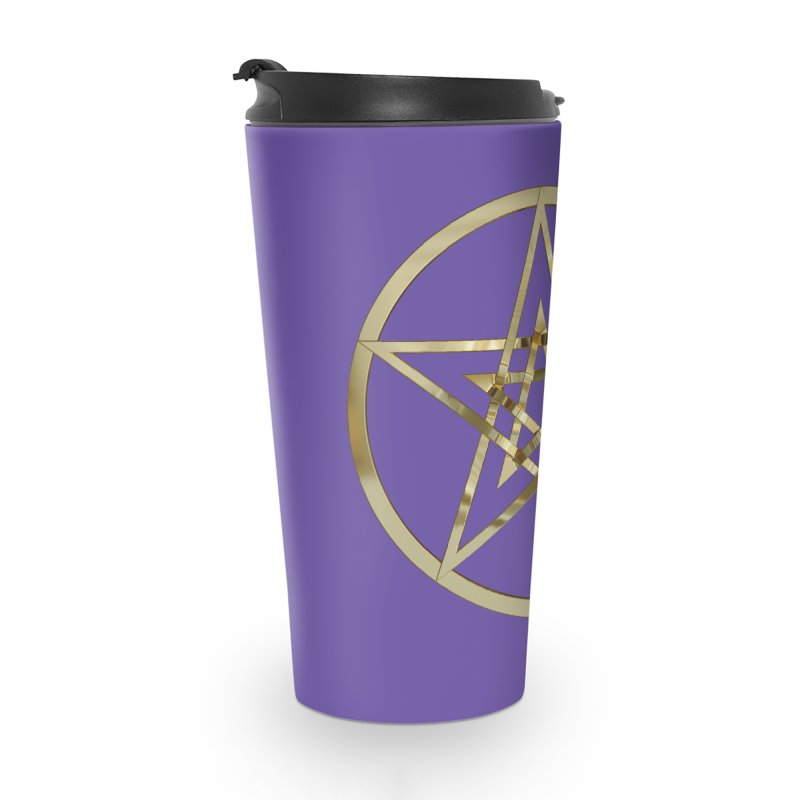 Double Pentacles Gold Accessories Travel Mug by diamondheart's Artist Shop