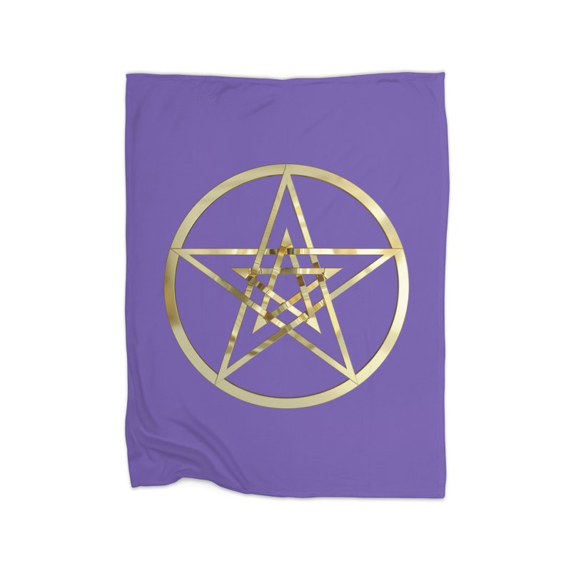 Double Pentacles Gold Home Fleece Blanket Blanket by diamondheart's Artist Shop