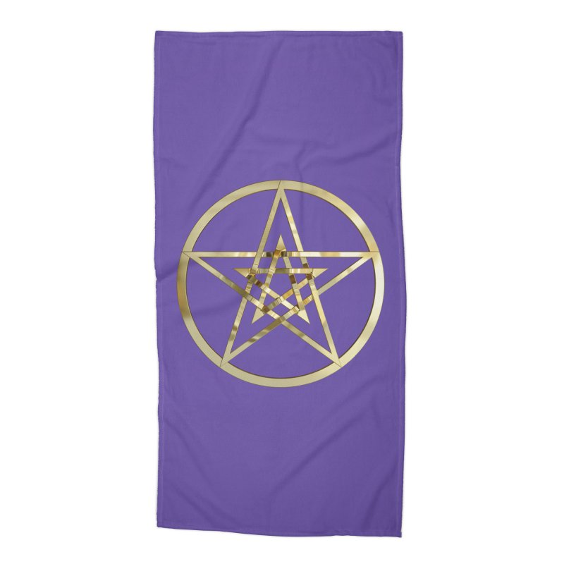 Double Pentacles Gold Accessories Beach Towel by diamondheart's Artist Shop