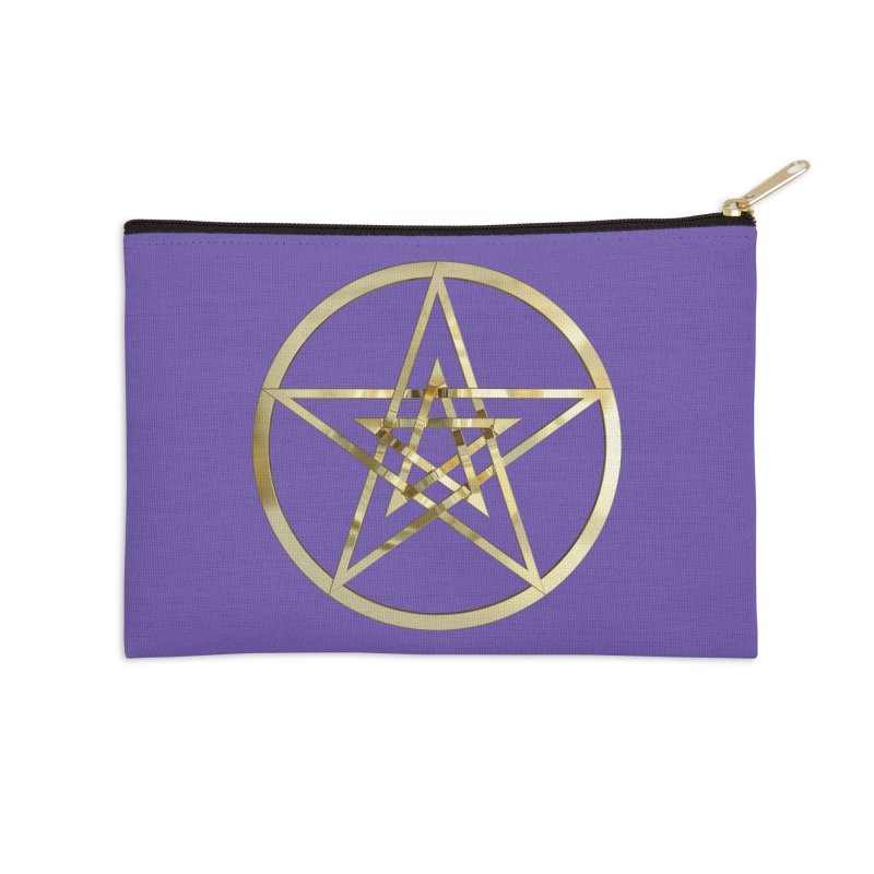 Double Pentacles Gold Accessories Zip Pouch by diamondheart's Artist Shop