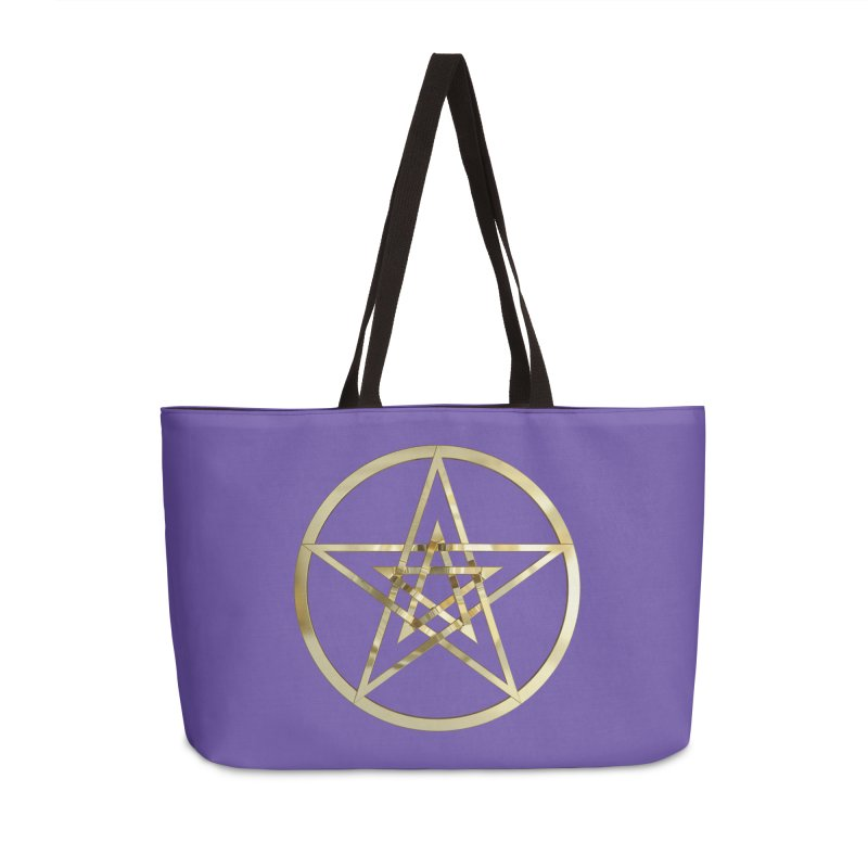 Double Pentacles Gold Accessories Weekender Bag Bag by diamondheart's Artist Shop