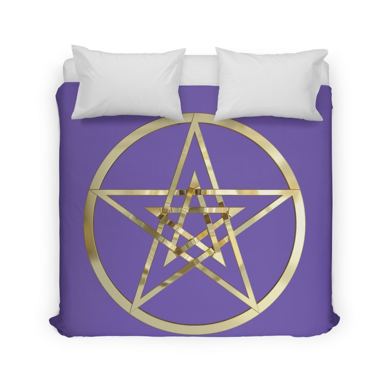 Double Pentacles Gold Home Duvet by diamondheart's Artist Shop