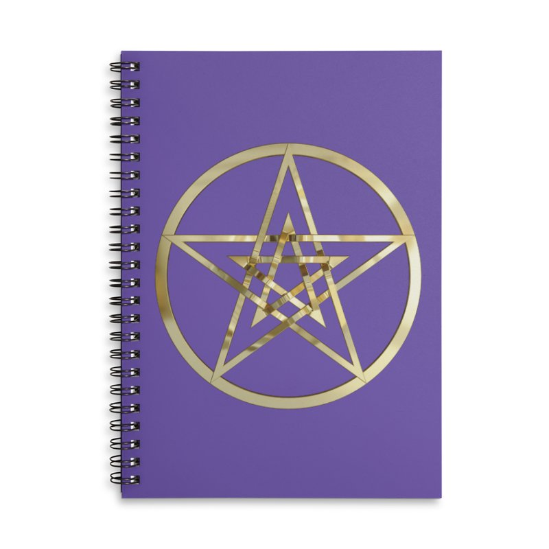 Double Pentacles Gold Accessories Lined Spiral Notebook by diamondheart's Artist Shop