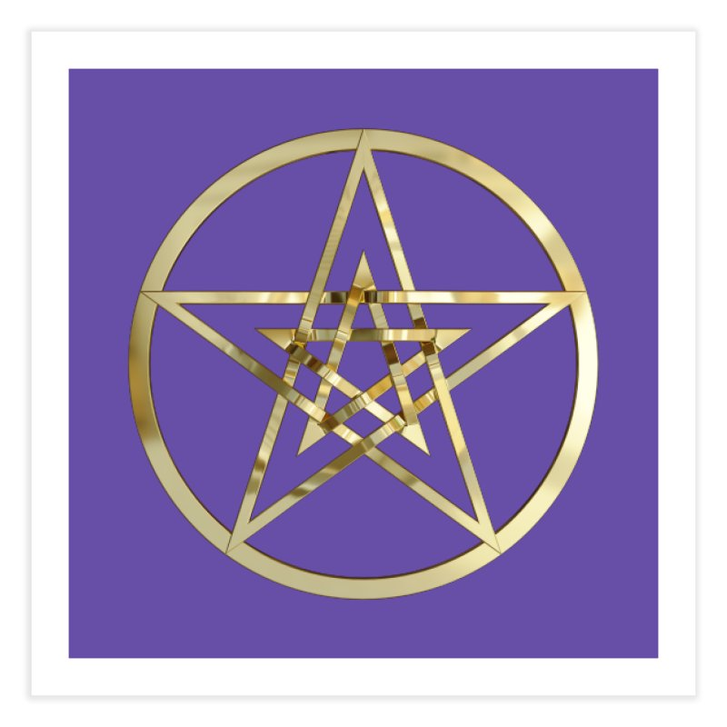 Double Pentacles Gold Home Fine Art Print by diamondheart's Artist Shop