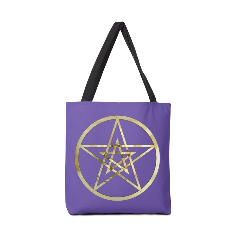 Double Pentacles Gold Accessories Tote Bag Bag by diamondheart's Artist Shop