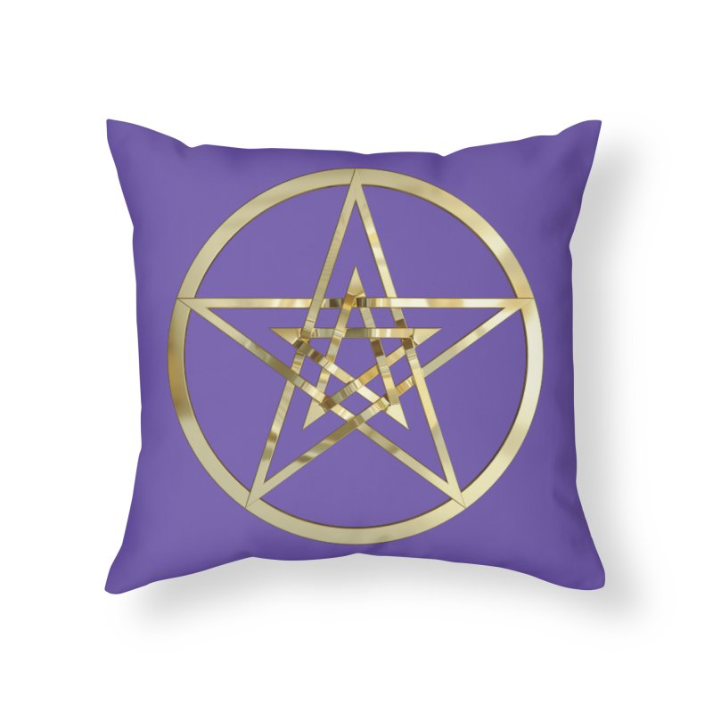 Double Pentacles Gold Home Throw Pillow by diamondheart's Artist Shop