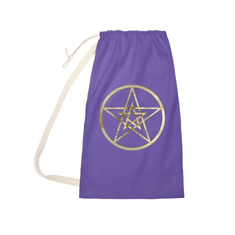 Double Pentacles Gold Accessories Laundry Bag Bag by diamondheart's Artist Shop