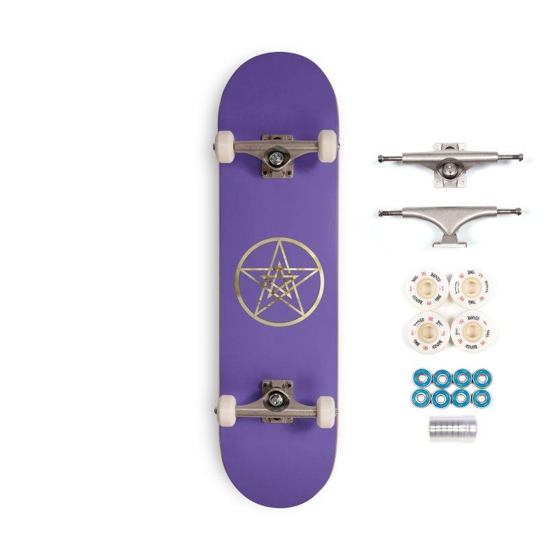 Double Pentacles Gold Accessories Complete - Premium Skateboard by diamondheart's Artist Shop
