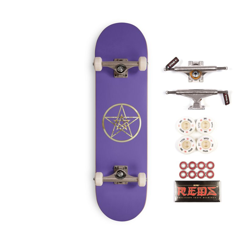 Double Pentacles Gold Accessories Skateboard by diamondheart's Artist Shop