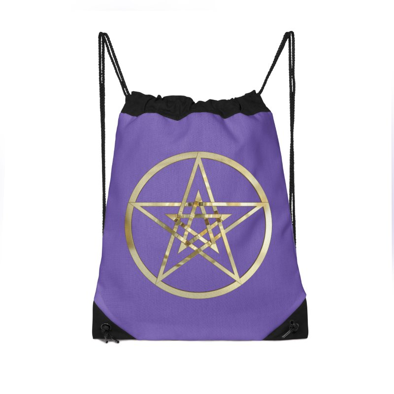 Double Pentacles Gold Accessories Drawstring Bag Bag by diamondheart's Artist Shop