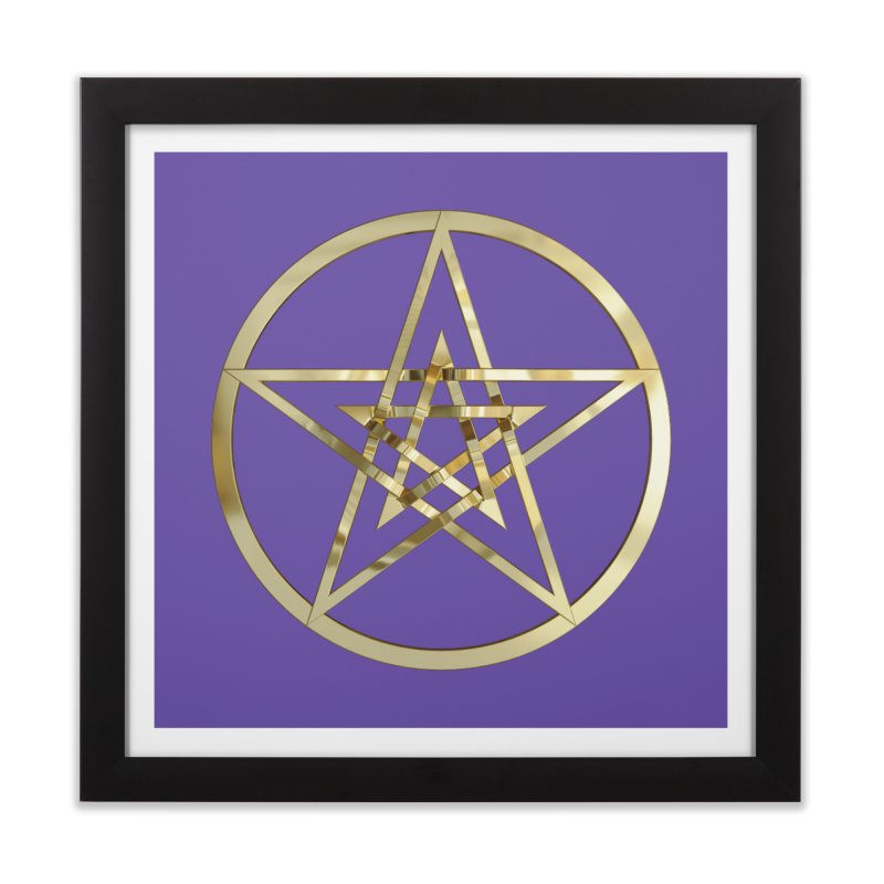 Double Pentacles Gold Home Framed Fine Art Print by diamondheart's Artist Shop