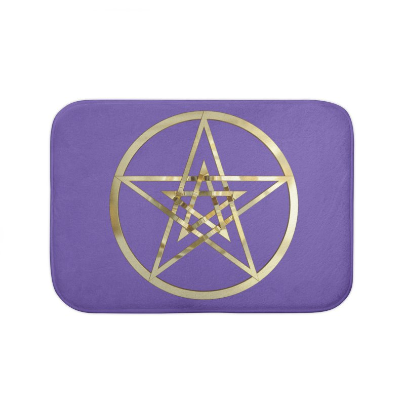 Double Pentacles Gold Home Bath Mat by diamondheart's Artist Shop