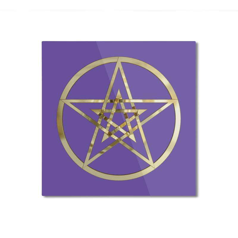 Double Pentacles Gold Home Mounted Aluminum Print by diamondheart's Artist Shop