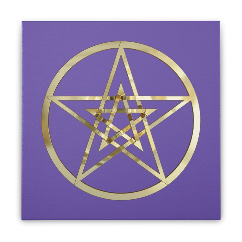 Double Pentacles Gold Home Stretched Canvas by diamondheart's Artist Shop