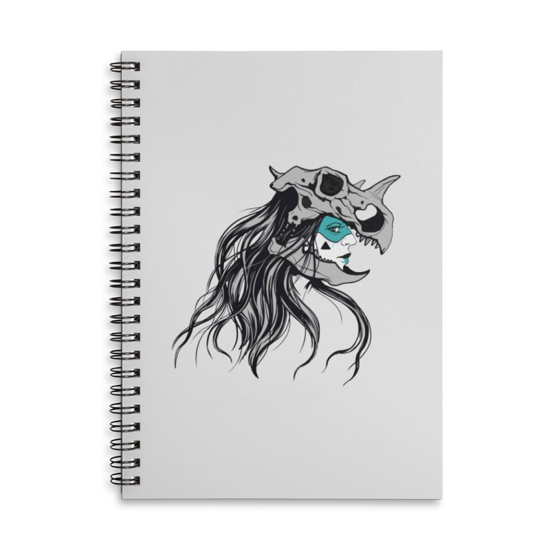 Skull Girl Accessories Lined Spiral Notebook by Diana's Artist Shop