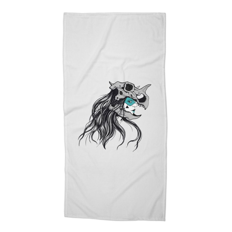 Skull Girl Accessories Beach Towel by Diana's Artist Shop