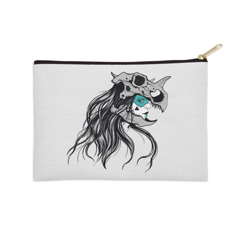 Skull Girl Accessories Zip Pouch by Diana's Artist Shop
